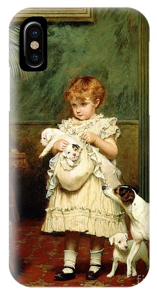 Oil iPhone Case - Girl With Dogs by Charles Burton Barber