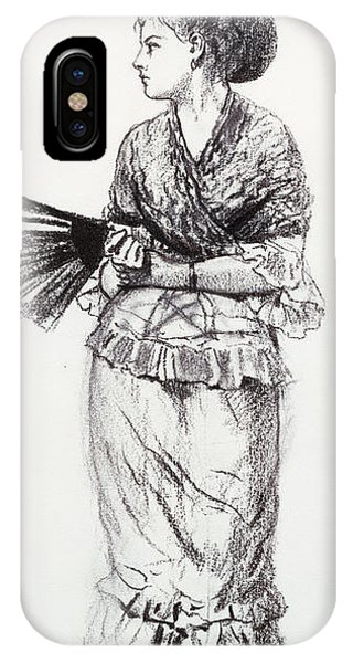 Pen And Ink Drawings For Sale iPhone Case - Girl With Fan by Winslow Homer
