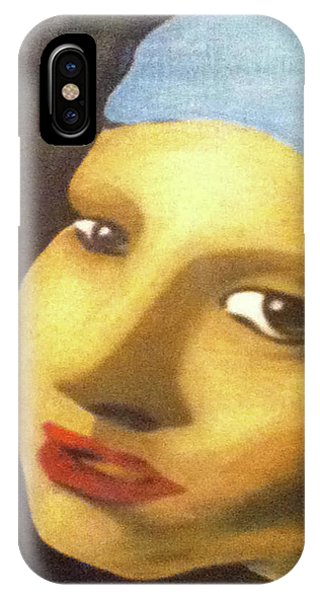 IPhone Case featuring the painting Girl With Pearl Earring Face by Jayvon Thomas