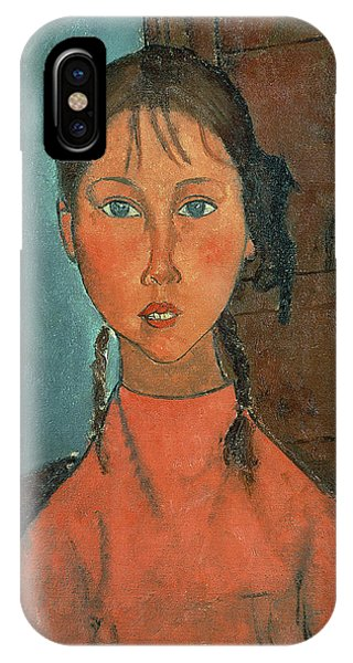 Girls iPhone Case - Girl With Pigtails by Amedeo Modigliani