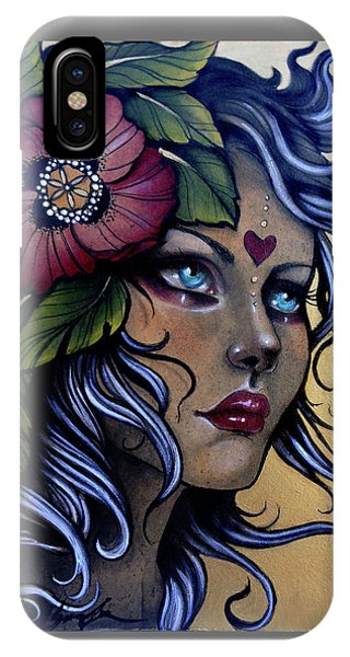 Girl With Poppy Flower IPhone Case