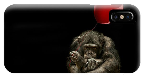 Chimpanzee iPhone Case - Girl With Red Balloon by Paul Neville
