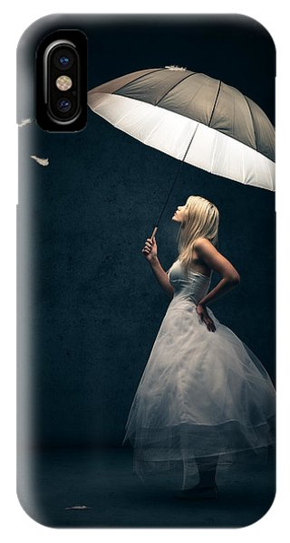 White Background iPhone Case - Girl With Umbrella And Falling Feathers by Johan Swanepoel