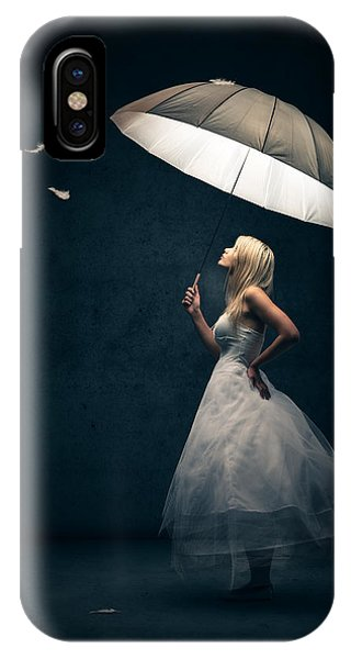Magician iPhone Case - Girl With Umbrella And Falling Feathers by Johan Swanepoel