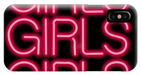 Culture Club iPhone Case - Girls Girls Girls Neon Sign by Ricky Barnard