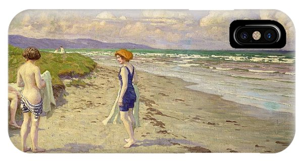 Sand iPhone Case - Girls Preparing To Bathe On The Beach by Paul Fischer