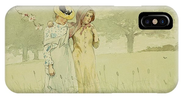 Homer iPhone Case - Girls Strolling In An Orchard by Winslow Homer