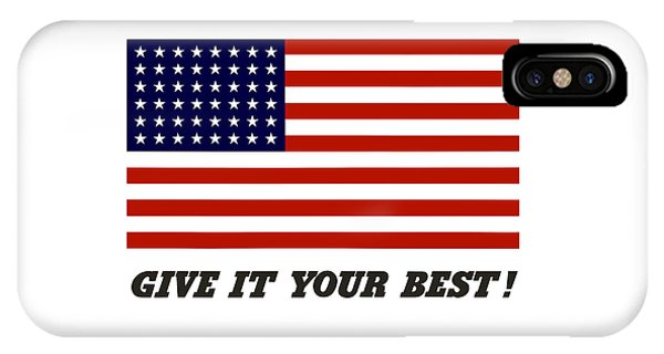 World War Two iPhone Case - Give It Your Best American Flag by War Is Hell Store