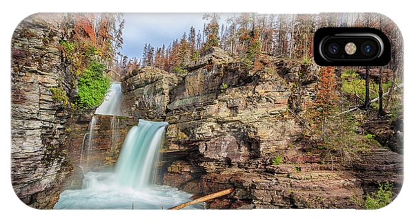 Glacier National Park Chilly Waterfall IPhone Case