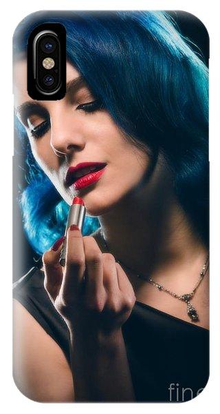 Glamorous Woman Applying Lipstick IPhone Case