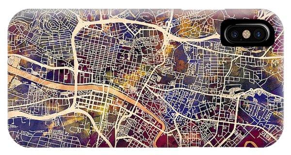 Scotland iPhone Case - Glasgow Street Map by Michael Tompsett