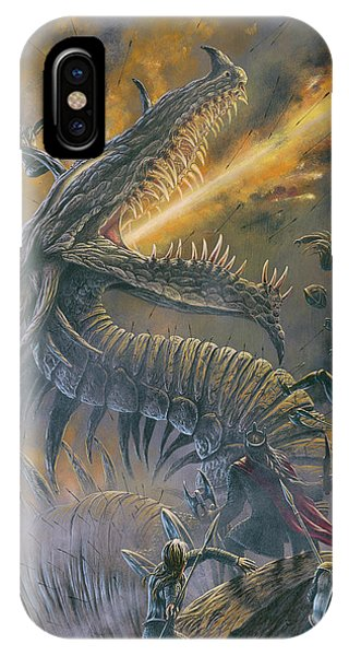 IPhone Case featuring the painting Glaurung At The Fifth Battle by Kip Rasmussen