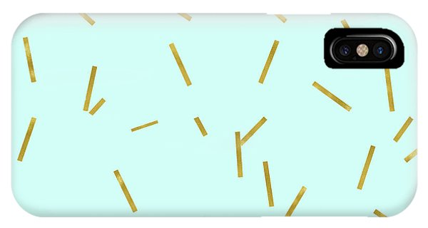 Aqua iPhone Case - Glitter Confetti On Aqua Gold Pick Up Sticks Pattern by Tina Lavoie