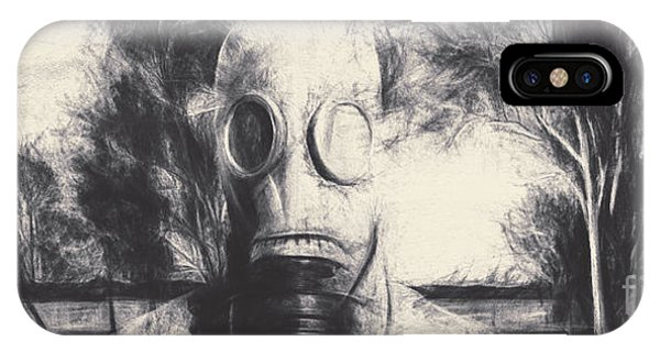Sketch iPhone Case - Vintage Gas Mask Terror by Jorgo Photography - Wall Art Gallery