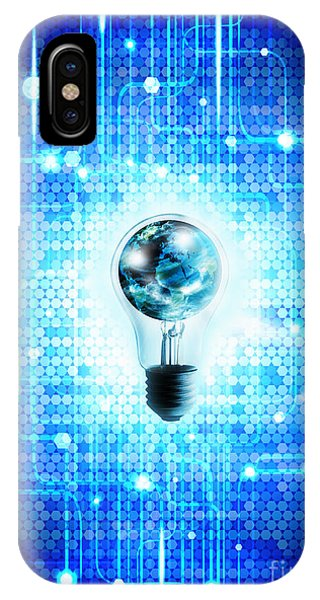 Digital Effect iPhone Case - Globe And Light Bulb With Technology Background by Setsiri Silapasuwanchai