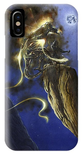 IPhone Case featuring the painting Glorfindel Versus A Balrog Of Morgoth by Kip Rasmussen