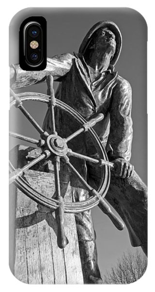 Gloucester Fisherman's Memorial Statue Black And White IPhone Case