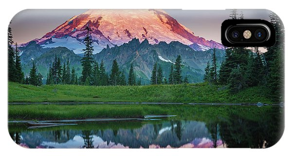Mountains iPhone Case - Glowing Peak - August by Inge Johnsson