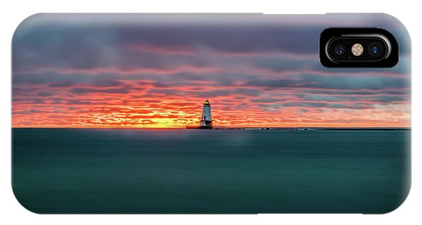 Glowing Sunset On Lake With Lighthouse IPhone Case