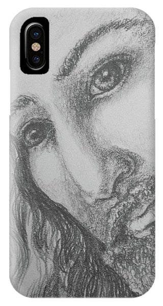 IPhone Case featuring the drawing God Became Man by Lisa DuBois