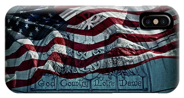 American Flag iPhone Case - God Country Notre Dame American Flag by John Stephens