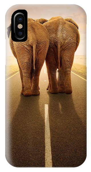 Walk iPhone Case - Going Away Together / Travelling By Road by Johan Swanepoel