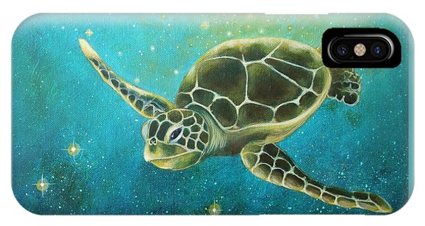 Turtle iPhone X Case - Going Deep by Christina Gage
