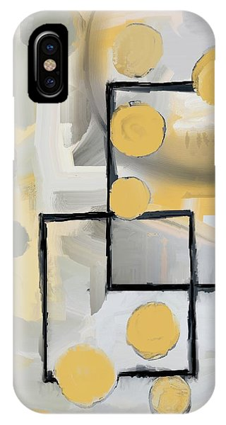 IPhone Case featuring the mixed media Gold And Grey Abstract by Eduardo Tavares