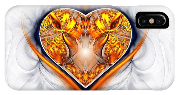 IPhone Case featuring the digital art Gold And Sapphire Heart  by Sandra Bauser Digital Art