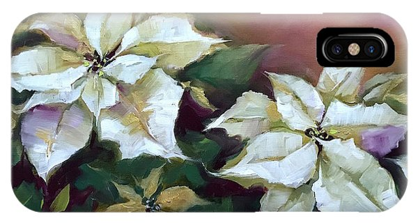 iPhone Case - Gold And Silver Silent Night Poinsettias by Nancy Medina