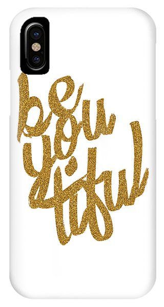 Gold 'beyoutiful' Typographic Poster IPhone Case