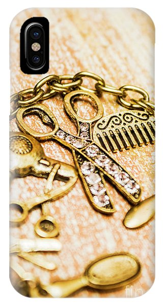 Necklace iPhone Case - Gold Class Hair Styling Background by Jorgo Photography - Wall Art Gallery
