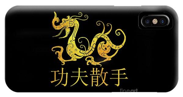 Gold Copper Dragon Kung Fu San Soo On Black IPhone Case