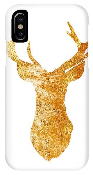 Head iPhone Case - Gold Deer Silhouette Watercolor Art Print by Joanna Szmerdt