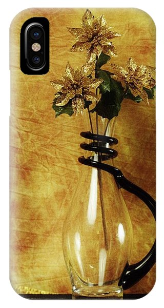 Gold Flowers In Vase IPhone Case