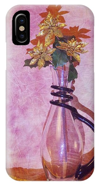 Gold Flowers Pink Background IPhone Case