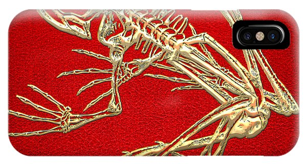 Artwork iPhone Case - Gold Frog Skeleton On Red Leather by Serge Averbukh