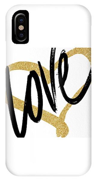 Valentines Day iPhone X Case - Gold Heart Black Script Love by South Social Studio