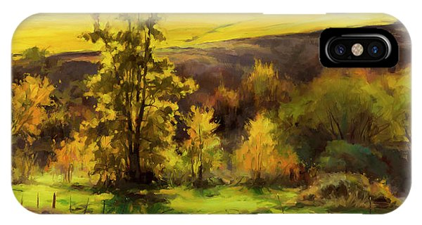 Fence iPhone Case - Gold Leaf by Steve Henderson