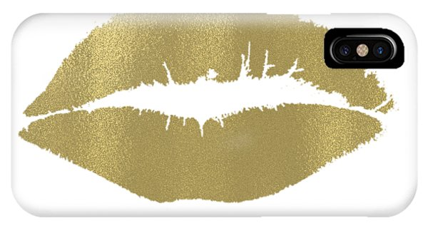 Love iPhone Case - Gold Lips Kiss by P S
