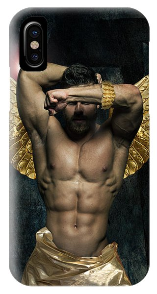 Manly iPhone Case - Gold Man  by Mark Ashkenazi