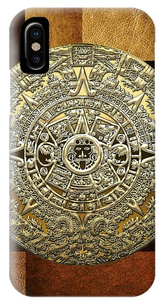 Gold Mayan-aztec Calendar On Brown Leather IPhone Case