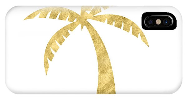 Palm Trees iPhone Case - Gold Palm Tree- Art By Linda Woods by Linda Woods