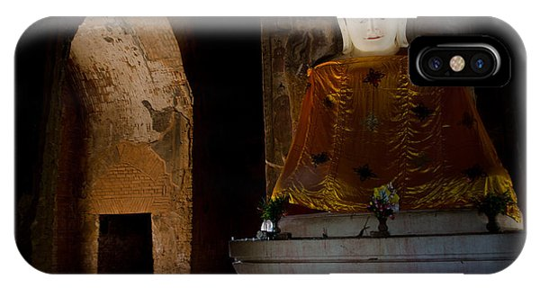 Gold Shrouded Buddha In Burma Basks In Natural Light By Temple Portal IPhone Case