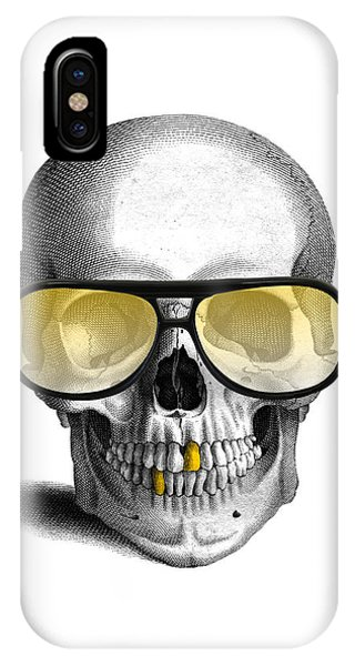 Skull iPhone Case - Skull With Gold Teeth And Sunglasses by Madame Memento
