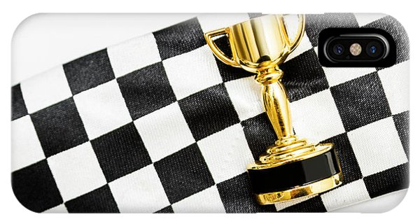 Gold Trophy On A Checked Sport Flag IPhone Case