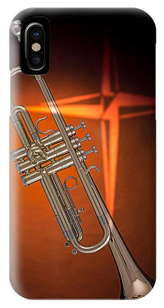 Gold Trumpet With Cross On Orange IPhone Case