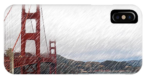 Golde Gate Rain IPhone Case
