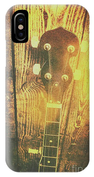 Gallery Wall iPhone Case - Golden Banjo Neck In Retro Folk Style by Jorgo Photography - Wall Art Gallery