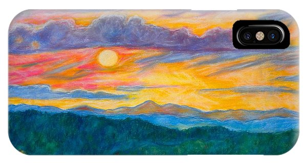 IPhone Case featuring the painting Golden Blue Ridge Sunset by Kendall Kessler